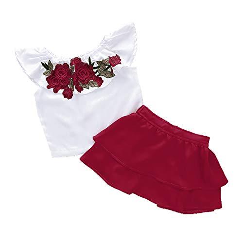 2pcs Kleinkind Kinder Baby Mädchen Roten Rock Set mit Rose Blume Stickerei Weiß T-Shirt Kurzarm Rüschen Tops Outfits Sommer Kleidung