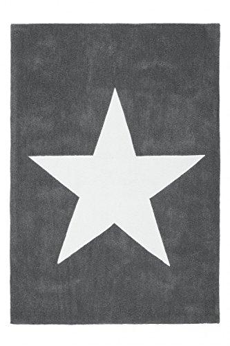 Kinderteppich dichtem Grau Flor Motiv Handgefertigt Stern Hochwertig Teppiche, Größe:120cm x 170cm