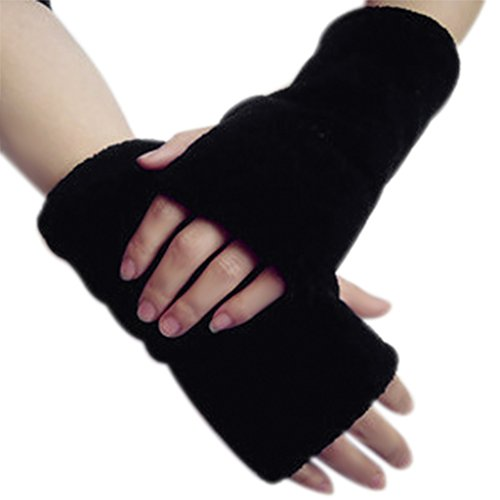 Damen Winter Handschuhe Handgelenk Handwärmer Warm Fingerlos Fäustlinge mit Daumenloch für Frauen Mädchen