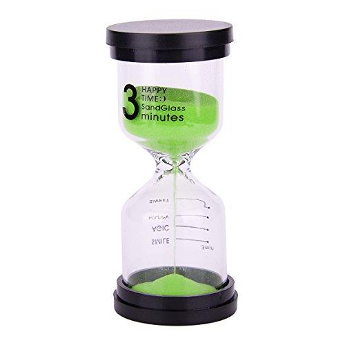 Multicolor Sablier minuteur - Coloré Sablier Sable Horloge minuterie 3 minutes Outil pour enfants et maison, 10,2 x 4,4 cm. Black + Green