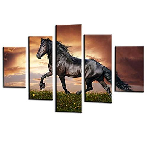 JONEKWYJ Wohnkultur Moderne HD Gedruckt Gemälde 5 Panel Tier Ansicht Wandkunst Rahmen Leinwand Wohnzimmer Bilder (16#,L-40inch (W) x 20inch (H)) - Ansicht 16x20 Foto