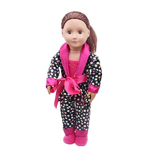 (vovo Baby Spielzeug, Vovotrade 5 stücke Kleidung Schuhe für 18 Zoll American Girl Unsere Generation Puppen Pyjama Set (Pink))