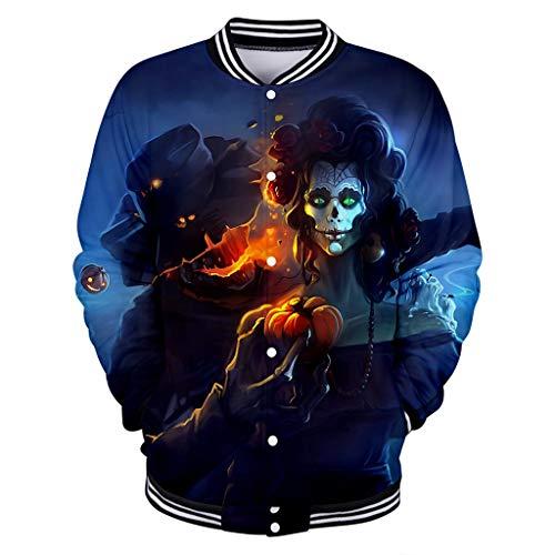 Vectry Damen Pullover Tops Fashion Party Halloween Horror Muster Baseball Jacke Langarm Shirt Locker Rundhals Beiläufige Sweatshirt Strickjacke Karneval Festival Winter Pullover Blau XS