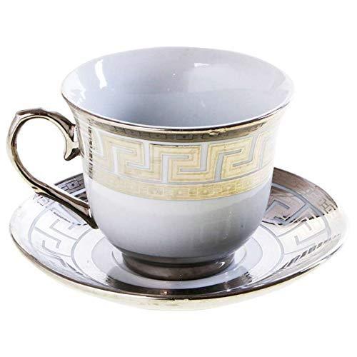 Porzellan Kaffeetassen Set 13-Tlg Cappuccino Tassen Latte Macchiato Kaffeebecher Silber Gold Farbe Gold   z1432