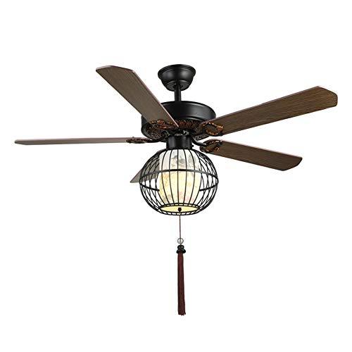 Naf retro 52 pollici nero ventilatore da soffitto silenzioso con kit luci a led, 5 pale in legno con telecomando, stile cinese decorativo lampadario a risparmio energetico