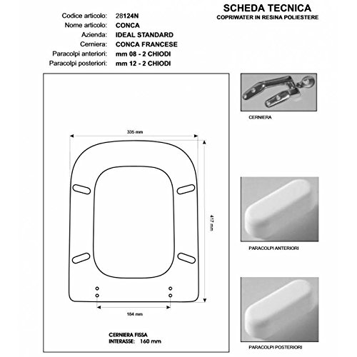Copriwater in legno rivestito di poliestere per ideal standard conca visone i.s. cerniera cromo-sedile-asse wccerniera cromo-sedile-asse wc