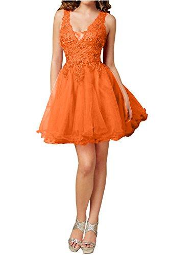 Charmant Damen V-ausschnitt Aermellos Spitze Cocktailkleider Partykleider Promkleider Kurz Heimkehrkleider Orange