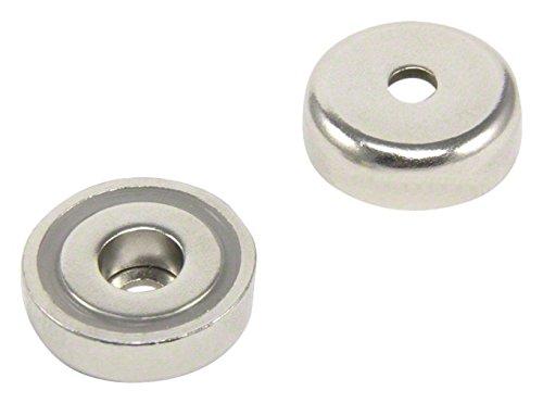 Magnet Expert® F4MB25-4 diamètre de 25mm x 8mm x épaisseur 5,5 mm c/alésage N42 néodyme Pot aimant-20kg de Traction, Métal, Argent, 15x10x3 cm