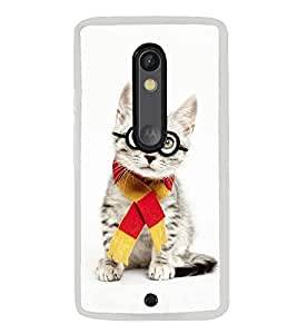 Cute Cat with Glasses 2D Hard Polycarbonate Designer Back Case Cover for Motorola Moto X Style :: Moto X Pure Edition
