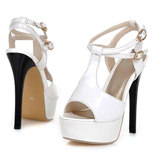 YE Damen Peep Toe High Heels 13CM Absatz T-Strap Plateau Stiletto Lack Leder Sommer Sandalen Pumps Mit Riemen Schnalle Schuhe Weiß