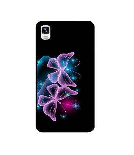 Casotec Butterflies Neon Light Design Canvas Printed Soft TPU Back Case Cover for Micromax Canvas Fire A093