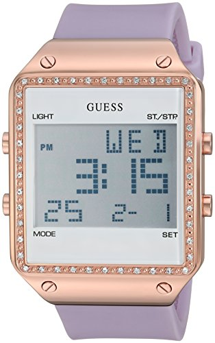GUESS Women's Quartz Stainless Steel and Silicone Casual Watch, Color:Purple (Model: U0700L5)