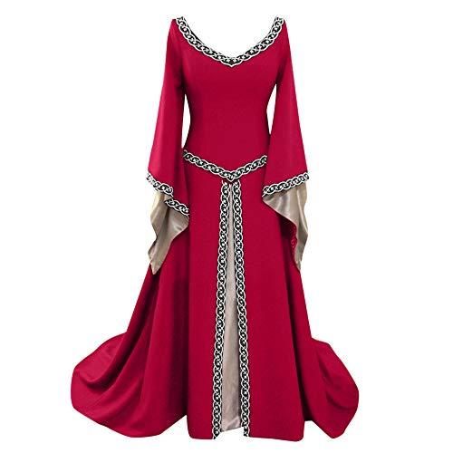 iHENGH Damen Frühling Sommer Rock Bequem Lässig Mode Kleider Frauen Röcke Langarm V-Ausschnitt Mittelalterlich Kleid Bodenlang Cosplay Kleid(Rot, XL)