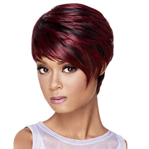 Frauen kurzes glattes Haar temperamentvolle realistische Perücke, Bluestercool Temperament unordentliche rote Haar Perücken weibliche ()