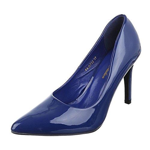 Ital-Design Damen Schuhe, PA15732, Pumps, High Heels, Synthetik in Hochwertiger Lacklederoptik, Blau, Gr 37