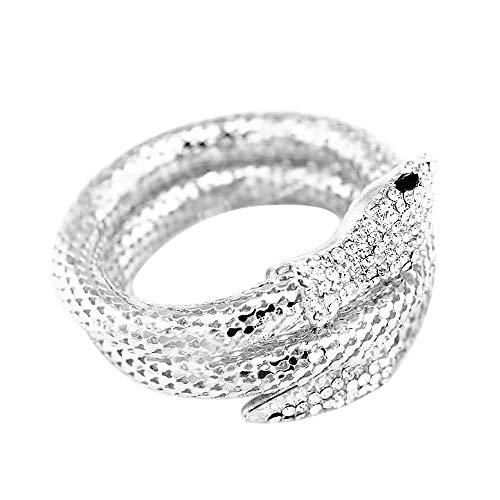 Top WH Punk Crystal Flexible Silber/Gold Mesh Schlange Armband Slinky Dance Armreif Arm Accessoire Crystal Stretch Schlange Armband für Frauen (Slinky Dance Kostüm)