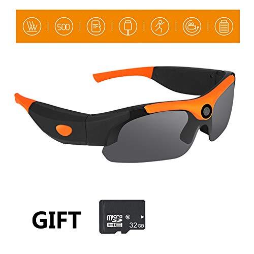 Kuan-Cycling glasses Outdoor Sport Reiten Sonnenbrille 120 ° Weitwinkel Fotografie polarisierte Brille 1080P HD Video Sportbrillen unterstützen 32 GB Speicherkarte,Orange