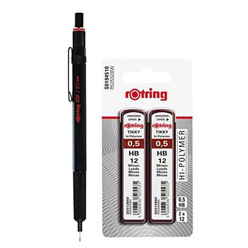 Druckbleistift, Drehbleistift Feinminenstift rotring 500/0,5 mm mit 24 Minen HB