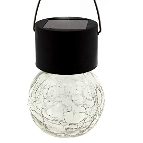 Solarlampe in Form einer Glühbirne aus Glas im Kristall-Look zum Hängen ca. 9 cm - Solarbeleuchtung Outdoor - Solar-Panel - Gartenbeleuchtung - Hang-panels
