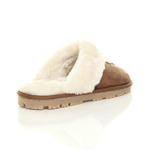 Femmes hiver doublée de fourrure luxe confortable chaude plat pantoufles chaussons pointure Chestnut Camel Tan
