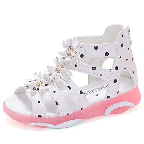 Vovotrade Kinder Mädchen Tupfen Strass Stereo 3D Blumen zurück Reißverschluss Prinzessin Schuhe coole Schuhe (Stiefel Roma-mädchen)