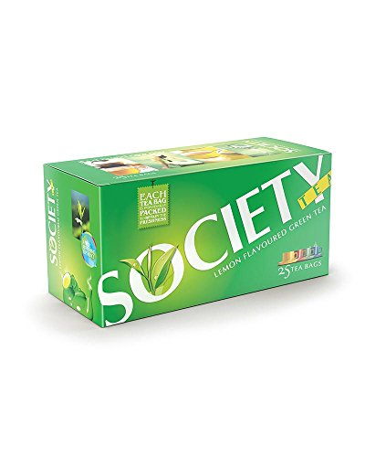 Society Lemon Flavoured Green Tea Bags, (25 Tea Bags)