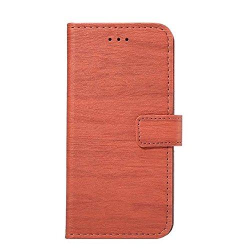 Hölzernes Beschaffenheits-Muster PU-lederner Mappen-Kasten-Abdeckungs-Folio-Standplatz-Fall mit Einbauschlitzen für iPhone 7 ( Color : Rose ) Orange