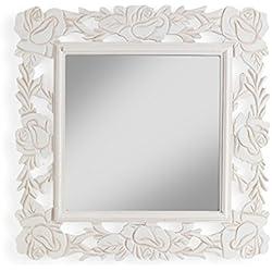 MONTEMAGGI Espejo de pared con marco cuadrado de madera, color blanco envejecido decorado con flores. Estilo Shabby. Medidas: 40 x 2 x 40 cm.