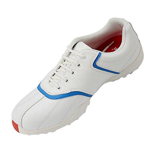 MagiDeal Damen Golfschuhe Schnürschuhe, Wasserdicht Atmungsaktiv Rutschfest - Weiß Blau, 38
