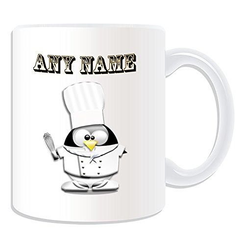 Personalisierter Geschenk-Chef Tasse mit Armatur in-Design, Pinguin-Design, Weiß, alle Name und Nachricht an ihr einzigartiges hoher Hut