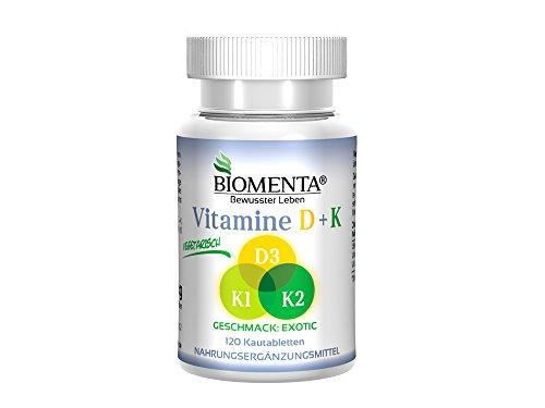 Biomenta® VITAMINE D + K - Vitamin D3 + Vitamin K1 + Vitamin K2 - 120 vegetarische Vitamin-Kautabletten