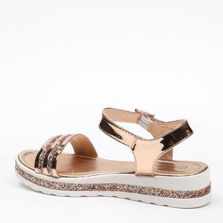 Ideal Shoes - Sandales vernies et effet pailletées avec semelle en gomme Andréane Champagne