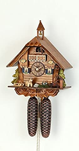 German Cuckoo Clock 8-day-movement Chalet-Style 12 inch - Authentic black forest cuckoo clock by Hekas by ISDD Cuckoo Clocks