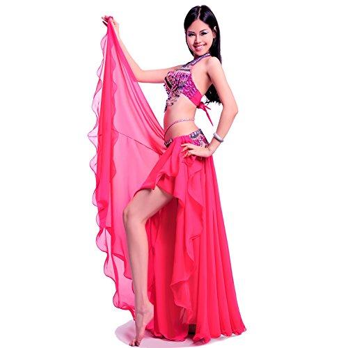 Royal smeela mujeres del vientre Danza Falda ATS gasa Maxi Full Tribal Bellydance (hot pink, Talla única)