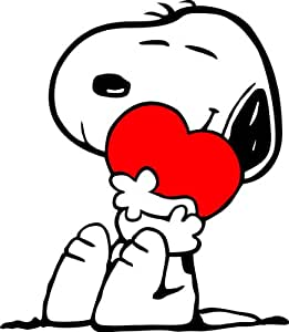 """14"""" X 16"""" - Snoopy Hugging Heart / No Text- 2 Colors (Red and Black)"""