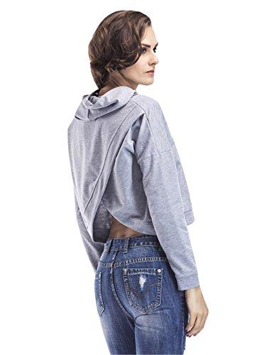 YPtong Sweatshirt Corto Felpe con Cappuccio Magliette Donna Maniche Lunghe Eleganti Top T-shirt Casual Grigio