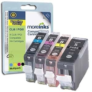 4 Canon Pixma iP3300 Kompatible Druckerpatronen Cyan / Gelb / Magenta / Schwarz - PATRONEN MIT CHIP