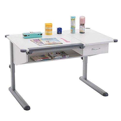 CARO-Möbel Kinderschreibtisch Billy Schülerschreibtisch Höhenverstellbar in Grau/Weiß mit Schublade und Ablage, Kappen in Grau für Jungs und Mädchen