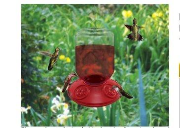 Dr. JB komplett schaltbaren 48Oz Vogelfutterhaus mit ROT Blumen (Bulk)