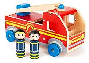 Small Foot Company-11456 Camión de Bomberos Grande de Madera, con Figuras de Juego y Escalera de Rescate móvil, a Partir de 3 años de Edad Juguetes, (11456)