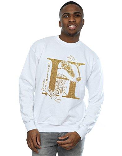 Harry Potter Herren Hufflepuff Glitter Sweatshirt Weiß XX-Large - Herren Sweatshirt Glitter