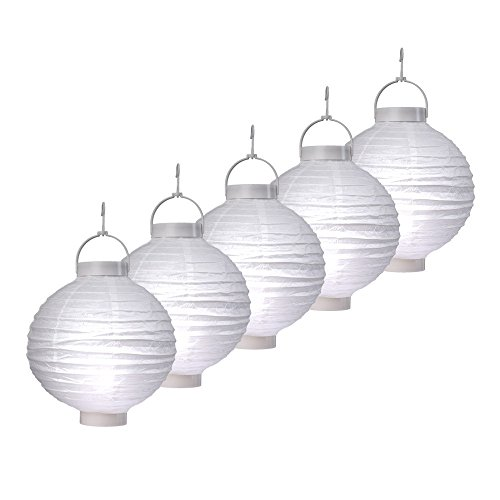 S/O® 5er Pack LED Lampions Weiß Laterne Lampion Garten Balkon Terrasse Party Beleuchtung Dekoration