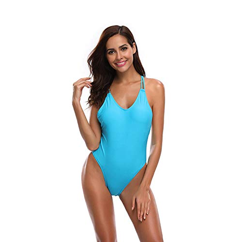 Zurück Tankini (YHYZ Damen Badeanzüge Tankinis einfarbig zurück Kreuz, offener Rücken hohe Taille einteiliger Bikini, geeignet für Schwimmbad Strandparty Urlaub, blau_M)
