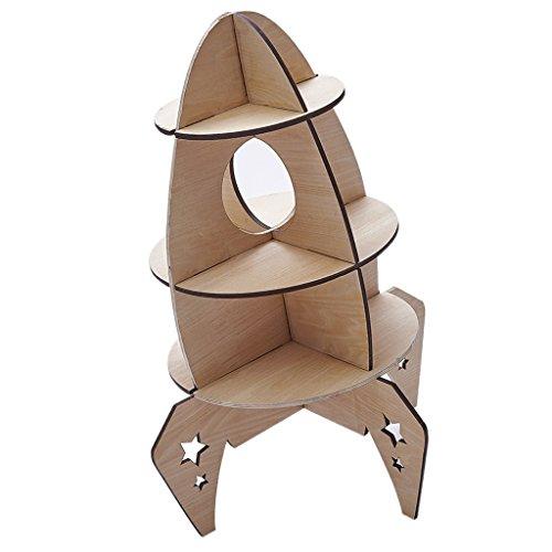 MagiDeal Bücherregal Kinderregal Standregal Bücher Spielzeug Sammlung Regal für Kinderzimmer Wohnzimmer - Rakete -