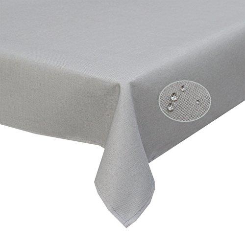 Tischdecke Silber-grau 90 x 90cm abwaschbar, Schmutz- und Wasserabweisend, eckig - Größe, Farbe & Form wählbar (Rund Eckig Oval)