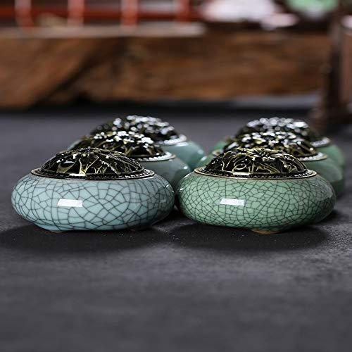 DaTun648 Celadon Aromatherapieofen Keramik Buddha Antike Legierung Abdeckung Weihrauch Brenner Raumdekoration Weihrauch Sandelholz Weihrauch Brenner