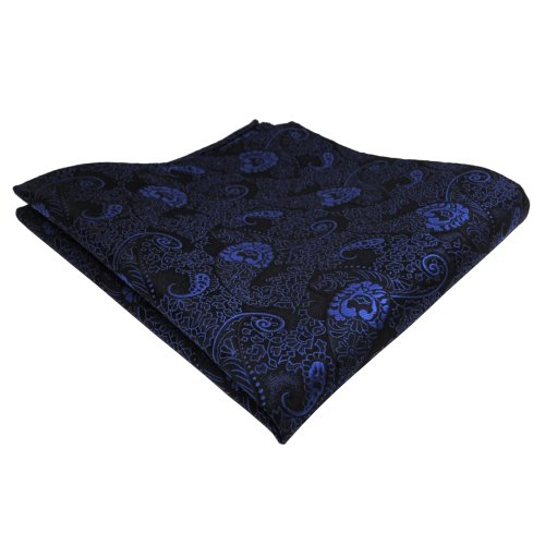 schönes TigerTie Einstecktuch blau dunkelblau schwarz Paisley - Tuch Polyester Pochette Kavalierstuch Stecktuch