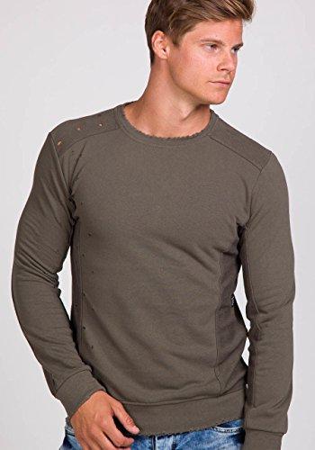 BOLF Herren Sweatshirt Langarmshirt Pullover Longsleeve Classic Mix 1A1 Motiv Khaki_9079