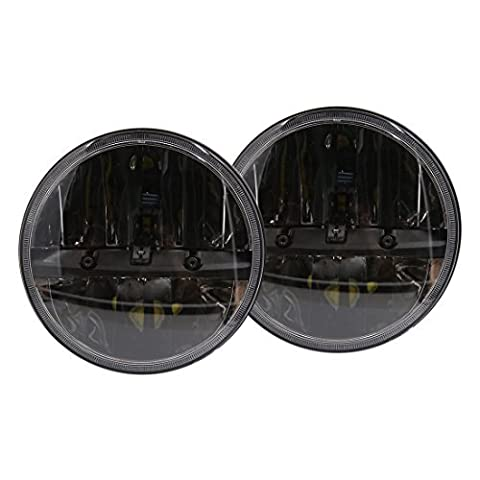 DealMux 2pcs 7 Round Black Auto Car LED Headlight H4 H13 Hi/Lo Beam Headlamp Bulbs For Jeep Wrangler AM General Hummer