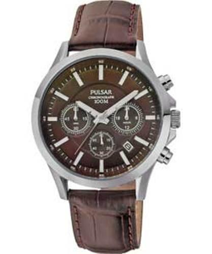 Pulsar - PT3067X1 - Montre Homme - Quartz Analogique - Chronomètre - Bracelet Cuir Marron